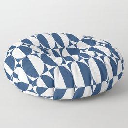Mid Century Modern Geometric Half Oval Pattern 248 Navy Blue Floor Pillow