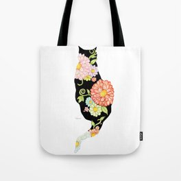 Exotic Floral Black Cat Silhouette Tote Bag