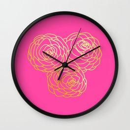 Gold Roses - Pink BG Wall Clock