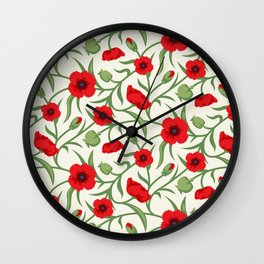 Red Flowers Pattern Wall Clock
