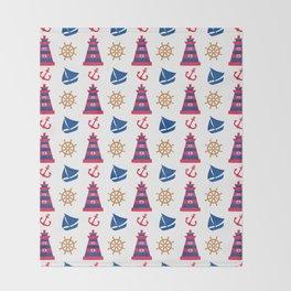 Modern blue red orange watercolor nautical pattern Throw Blanket