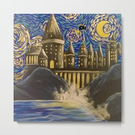 Starry night wizards castle Metal Print