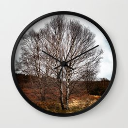 The birch without leaves. Wall Clock
