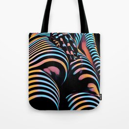 1937s-AK Striped Woman Hand Down Back Bum Butt Abstract Nude Female Ass Tote Bag