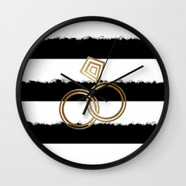 Gold Wedding Rings Wall Clock