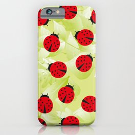 Ladybugs and leaves, wild nature print iPhone Case