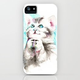 Happy Prayig Kitty - Cat Watercolour iPhone Case
