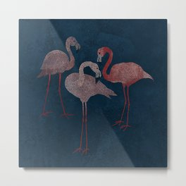 Three pink flamingos on navy blue Metal Print