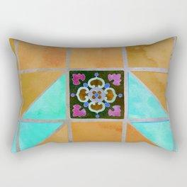 Fredericksburg Texas Vintage Ceramic Tile Pattern - Warm Gold and Aqua Blue Rectangular Pillow