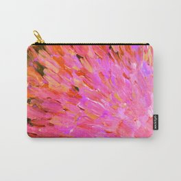 SEA SCALES IN PINK - Hot Pink Feminine Beach Ocean Waves Feathers Abstract Acrylic Painting Fine Art Carry-All Pouch