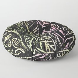 green and pink plant pattern Floor Pillow