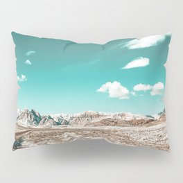 Vintage Desert Clouds // Teal Blue Skyline Mountain Range in the Mojave after a Snow Storm Pillow Sham