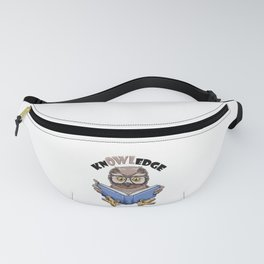 Knowledge Pun - Funny Nerd Owl Reading Book Gift Fanny Pack