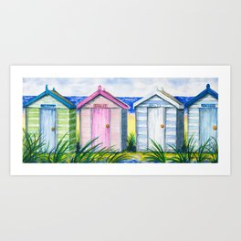 Beach Huts in a Row Seaside Traditional Nostalgic & Iconic Art Print