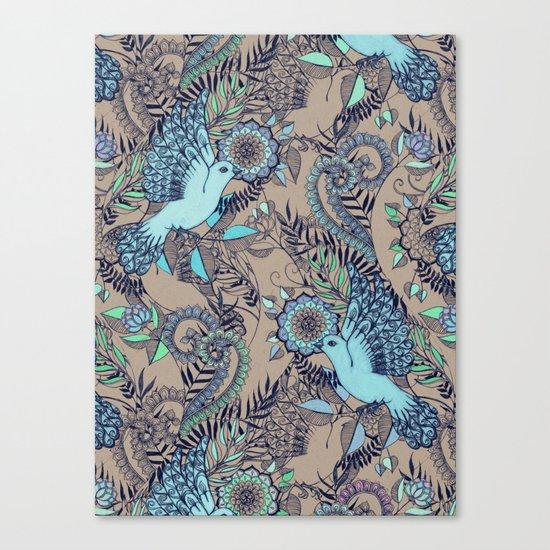 Flight of Fancy - aqua, mint, taupe Canvas Print