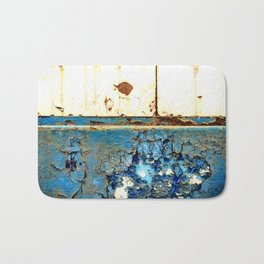 Industrial Rust on Blue Metal Bath Mat