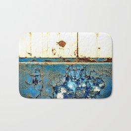 Industrial Rust on Blue Metal Bath Mat