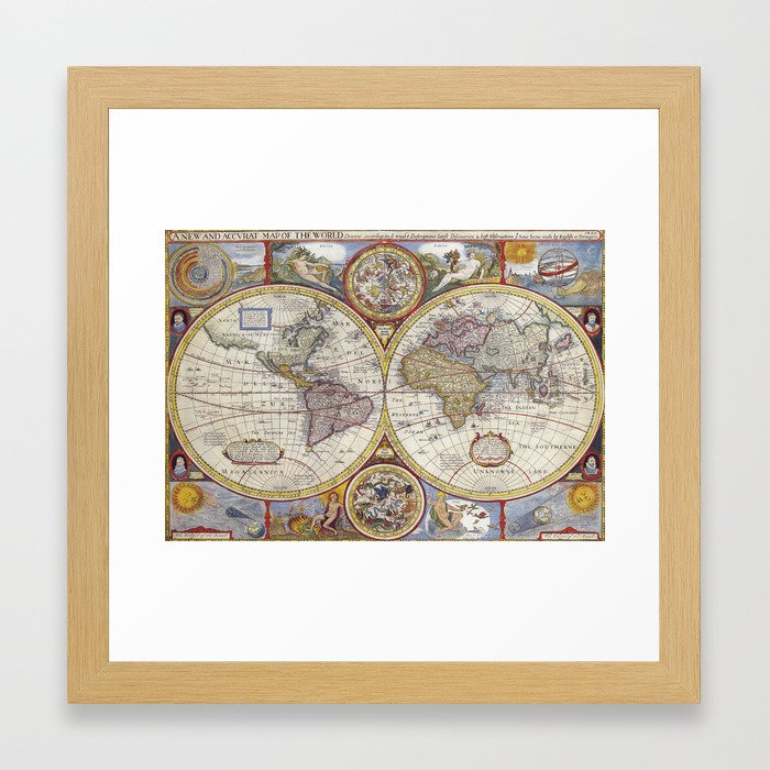 Vintage World Map Framed Art Print By Peggieprints Society6