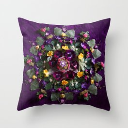 May Flowers Mandala Throw Pillow