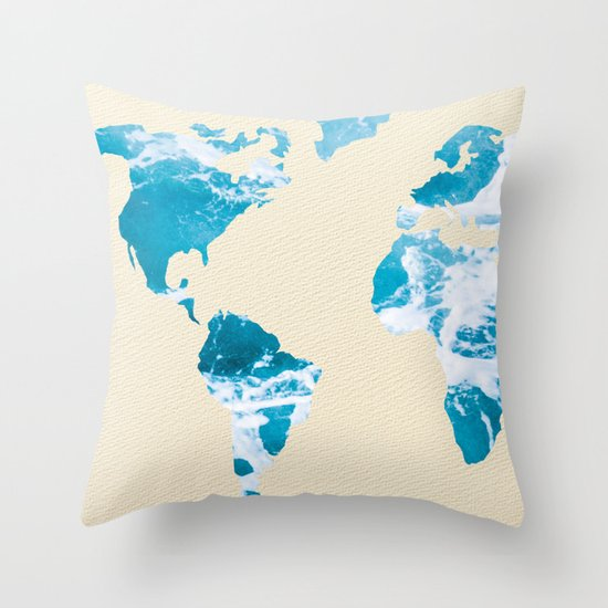 Ocean World Map Sea and Sand Throw Pillow