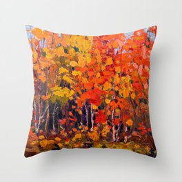 Tom Thomson - Autmn Wood - Canada, Canadian Oil Painting - Group of Seven Throw Pillow