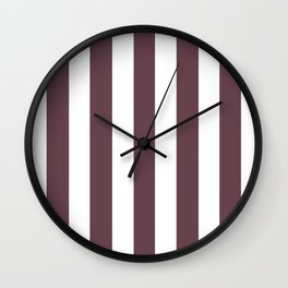 Deep Tuscan red purple - solid color - white vertical lines pattern Wall Clock