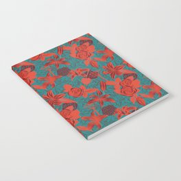 Linocut look in blue with roses Notebook