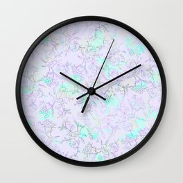 Modern lavender turquoise hand drawn watercolor botanical floral Wall Clock