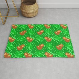 Cute lazy funny baby sloths, green tropical exotic monstera philodendron leaves pattern Rug
