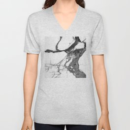 Pearl White Marble With Black Avant-Garde Veins Unisex V-Neck
