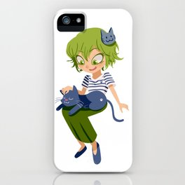 A girl and her cat :3 iPhone Case