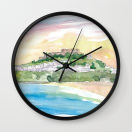 Lindos Rhodes Fortress at Sunset Wall Clock