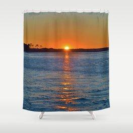 Frozen Bay Sunset Shower Curtain