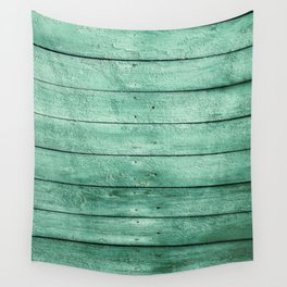 green wooden fence Wall Tapestry