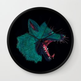 Screaming green fox Wall Clock