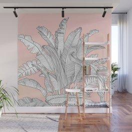 Banana Leaves Illustration - Pink Wall Mural