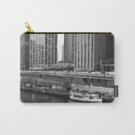 Boat on the Chicago River -- Downtown Chicago -- Black and White Photograph Carry-All Pouch