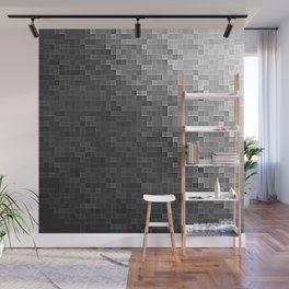 Gray Ombre Pixels Wall Mural