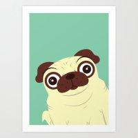 pug Art Prints featuring Pug by Hoborobo