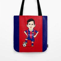 messi Tote Bags featuring Lio Messi - Barcelona v2 by softdelusion