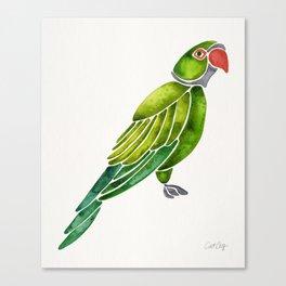 Perched Parrot – Green Palette Canvas Print