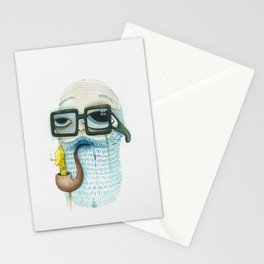 Old Man Smoking Giraffe Pipe Stationery Cards