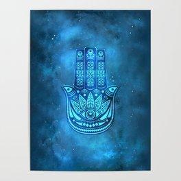 Hamsa Hand Magic Eye Blue Watercolor Art Poster