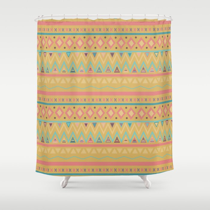 Hand Painted Geometrical Pink Teal Yellow Tribal Aztec Shower Curtain By Water