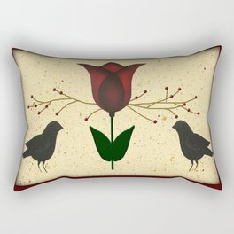 Primitive Tulip And Crows Rectangular Pillow