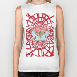ARTISTIC RED-WHITE BUTTERFLY DREAM CATCHER WEB Biker Tank