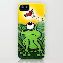 Frog Chasing Love iPhone Case
