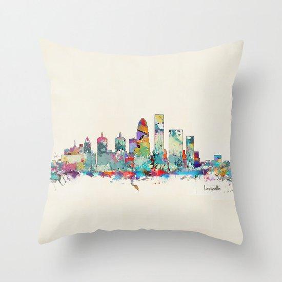 Louisville Kentucky skyline Throw Pillow