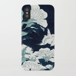 JAPANESE FLOWERS Midnight Blue Teal iPhone Case