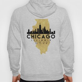 CHICAGO ILLINOIS SILHOUETTE SKYLINE MAP ART Hoody